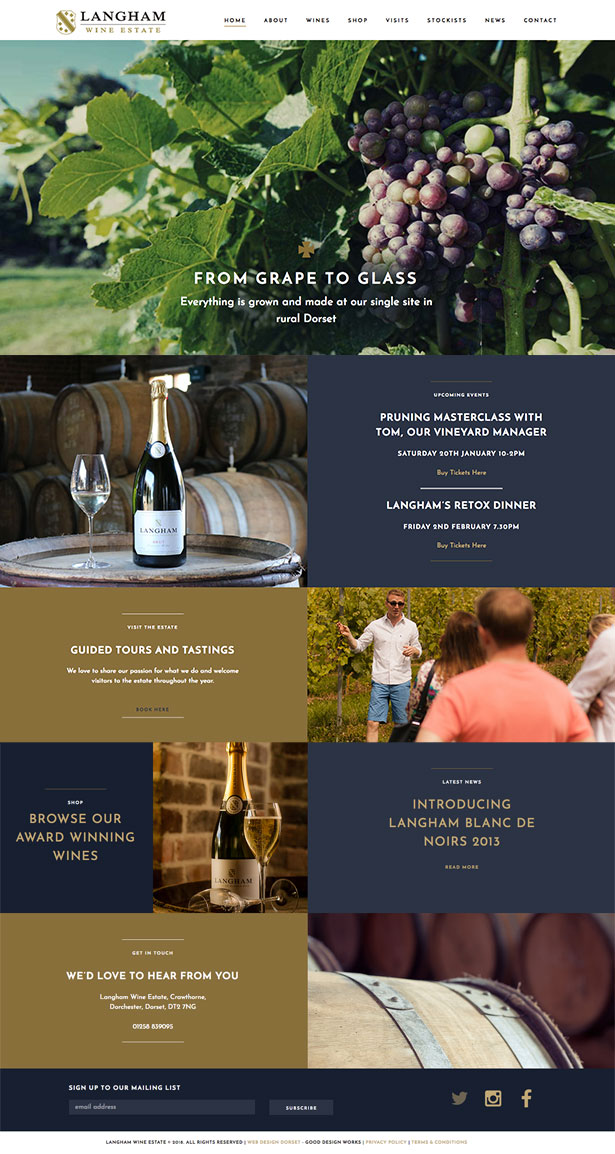 Website Design for Langham Wine