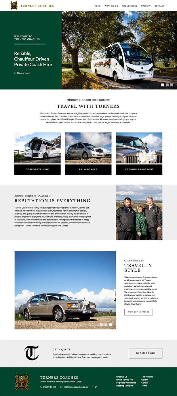Turners Coaches Website Design