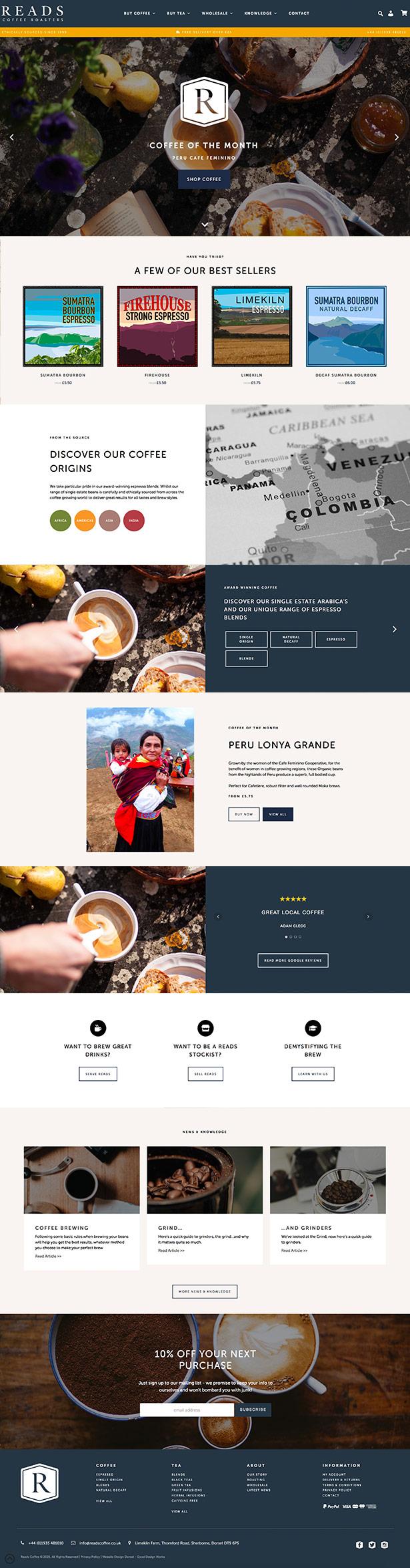 Reads Coffee Website Design
